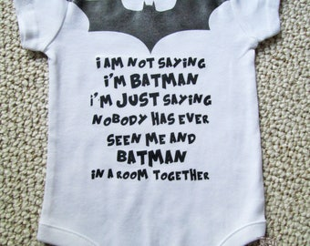 Funny Batman Baby / Toddler Onesie With Bat Symbol and Words