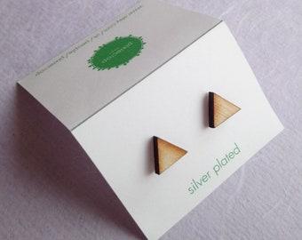 Wooden Triangle Studs, Laser Cut Earrings