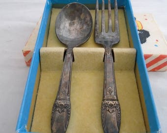 1930-1940 Antique Toddler Silverware Set 1847 Rogers Brothers in original box