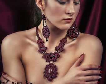 necklace, earrings from a soutache