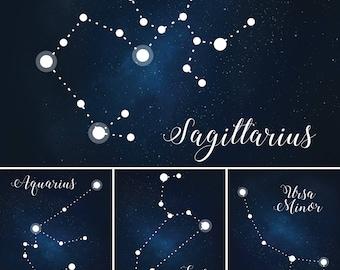 Star-Themed Wedding Table Numbers, Constellation Table Names, Under the Stars Wedding Table Number Digital Files, Star Table Name Printables