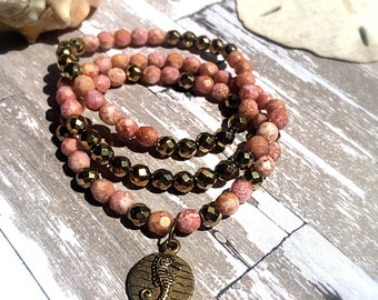 Beaded Bracelet Stack - Pink and Gold - Hematite - Boho - Beach - Summer - Sea Horse