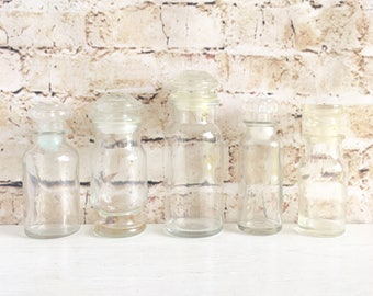 Vintage Clear Glass Spice Jars with Airtight Lids - Set of 5 Unique