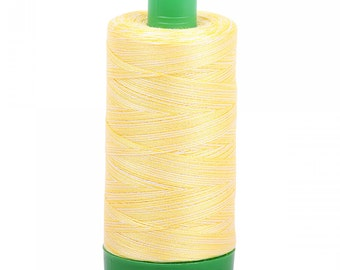 Aurifil Variegated Thread; Lemon Ice 3910; Mako Cotton 40wt Thread; Large spool: 1094 yards; machine embroidery, applique, quilting