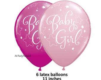 pink baby girl balloons, twinkle twinkle little star baby shower decorations, babys first birthday party, 1st, babies, girls, latex