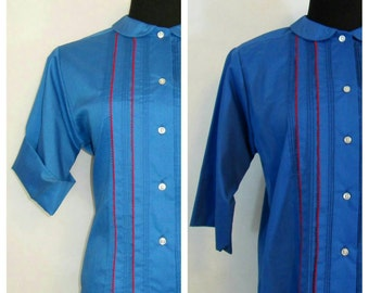60s Button Down Shirt, Vintage Royal Blue Glenbrooke Blouse with Contrast Trim Pintuck Detail and Peter Pan Collar Size 16