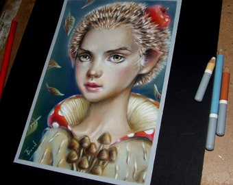 Hedgie - original art by Tanya Bond - fantasy illustration pastels girl pop surrealism - hedgehog totem spirit animal - apple mushroom