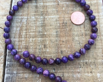 Purple Crazy Lace Agate 8mm round bead, 16 inch strand