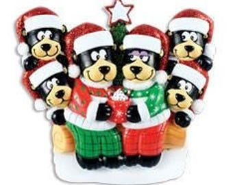 Black Bear Family w/ Hot Chocolate Family of 6- Personalized Christmas Ornament - Personalized Names and Message