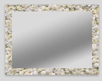 Mirror with motif frame, mirror with printed edge, individual mirror