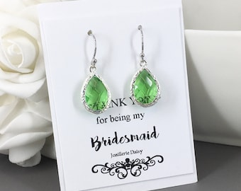 Clearance Apple Green Earrings Drop Earrings Bridesmaid Earrings Bridesmaid Gift Jewelry Lime Green Spring Wedding Maid of Honor