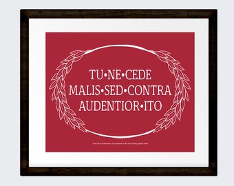 Yield not to Misfortune Inspirational Latin Quote, Office Wall Art, Latin Phrase, Quote Art, INSTANT DOWNLOAD