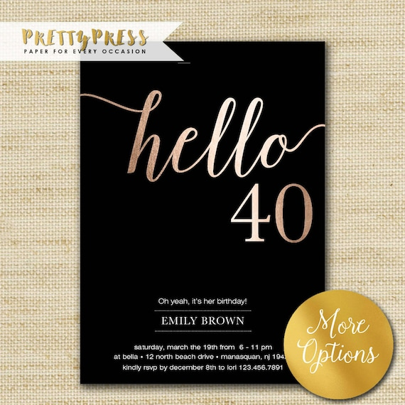 40th Birthday Invitations Modern Faux Gold Foil Hello 40