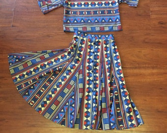 Vintage Ethnic Printed Shirt and skirt // vintage 70s 1970s 80s skirt and blouse dress top shirt ethnic boho hippie