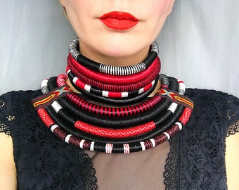 Tribal Necklace, African Necklaces, 2in1, Statement Necklace, Afro Choker, African Necklaces, Ethnic Necklace, African Jewelry for women
