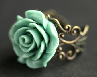 Sage Green Rose Ring. Sage Green Flower Ring. Adjustable Ring. Floral Ring. Filigree Ring in Antique Bronze, Antique Copper, Gold or Silver.
