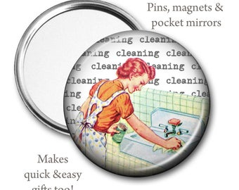 Retro Mom Pocket Mirror, Magnet or Pin, 2.25'' inch, vintage book illustrations, Retro Mothers Day, vintage mom magnet, mom cleaning