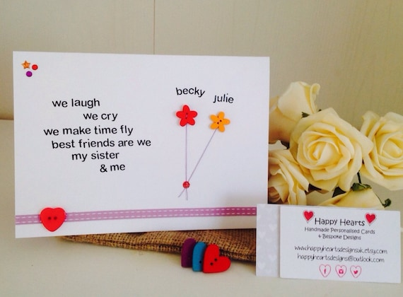 Birthday Cards Quotes For Friends ~ Sister poem personalised handmade cards personalised sister