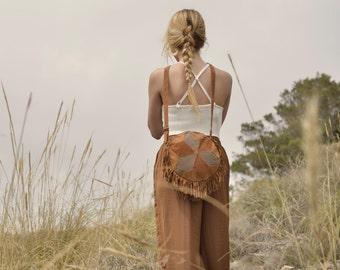 Suede leather bag, brown leather bag, leather handbag,bohemian bag, retro leather bag, bohemian bag, boho bag