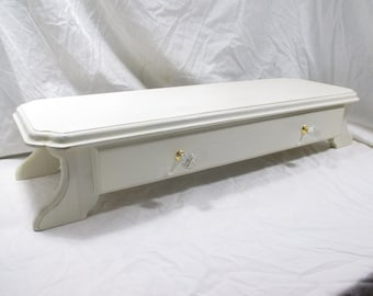 Long Monitor Stand or TV Riser, with Drawer & Glass Pulls  ~ Painted