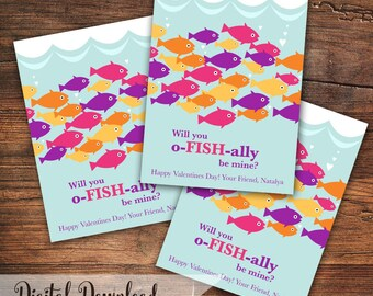 Will you o-FISH-ally be mine? Printable Valentine Cards with Fish