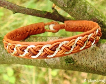 DRAUPNIR Viking Bracelet | Silver and Cognac Leather Cuff in Swedish Sami Style | Custom Handmade to Your Wishes