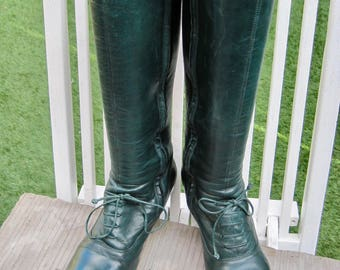 Bottle green Victorian style full leather zip up boots with laces UK ladies size 5