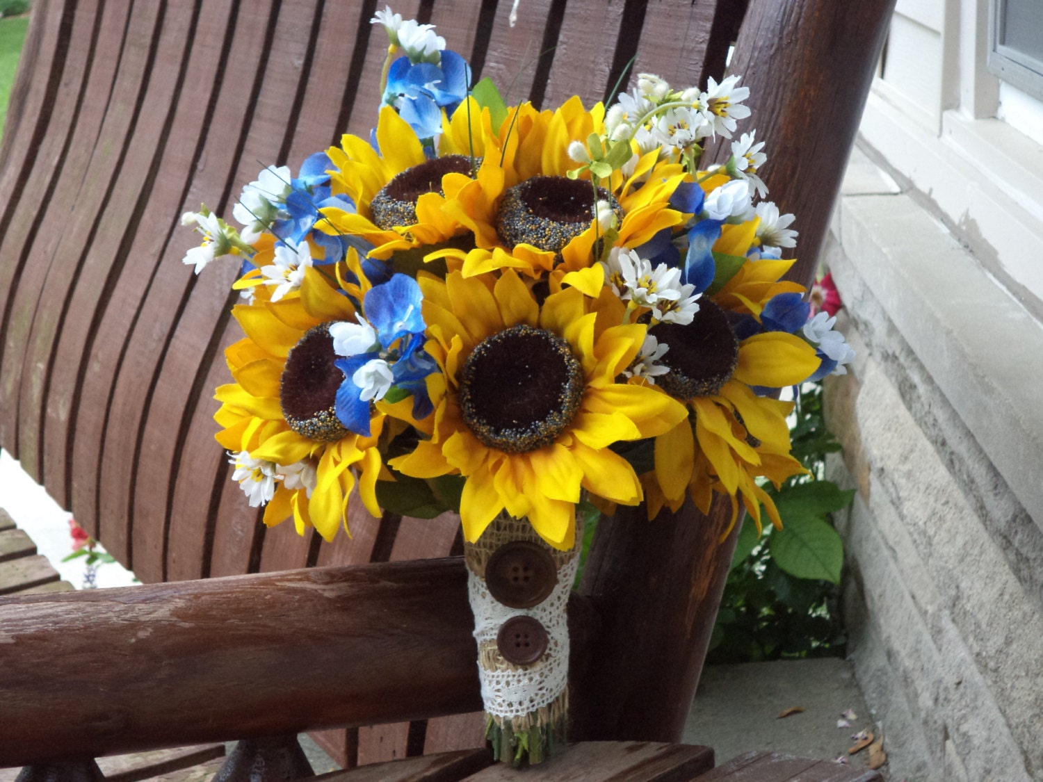 Sunflower Bridal Bouquet With Texas Bluebonnets Country