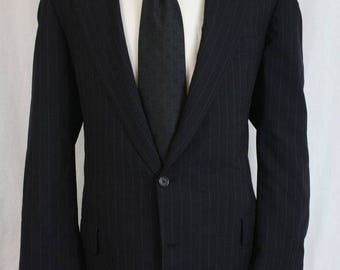 ON SALE Vtg Hickey Freeman Wool Navy Pinstripe Jacket/Blazer 46