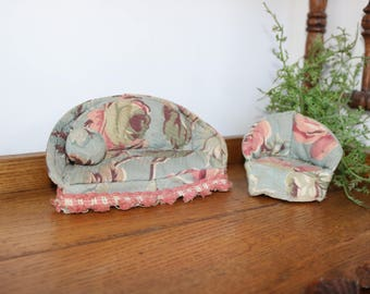 Vintage Handmade Upholstered Miniature Doll House Furniture, Floral Barkcloth Couch and Chair With Pillow