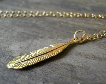"""Extra LONG 42"""" Layer Gold Necklace, Feather Jewelry, Gold Feather Necklace, Minimalist Gold Charm Pendant, Delicate 14k Gold Filled Necklace"""