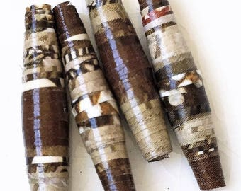 eco friendly handmade paper beads colors of candy bars--lot of 4