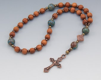 Anglican Prayer Beads - Christian Gifts - Natural Wood Rosary - Brown & Blue - Item # 781