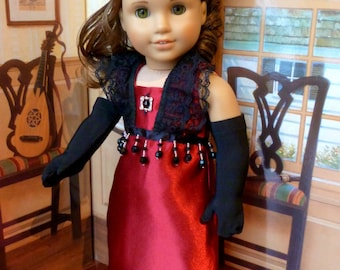 """Doll Edwardian Evening Gown Downton Style American Made for your 18"""" Girl Doll -- Elegant 6-Piece Set"""