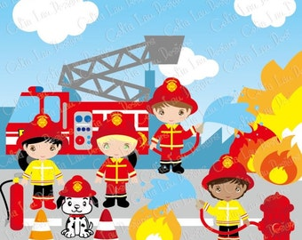 Cute Firefighter Clipart, Fireman clip art (CG035), Firefighter Kids and dog, Fire Truck for Personal and Commercial Use / INSTANT DOWNLOAD