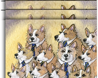 4 x Pembroke Welsh corgi dog greeting cards choral singing hymn music male voice choir singers practice howling holy night by Susan Alison