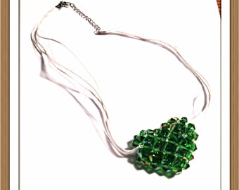 Handmade MWL green bicone puffed heart necklace. 0256