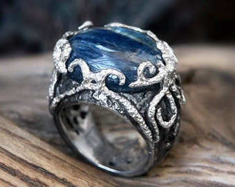 "925 Silver Kyanite Ring ""The Winter's Tale"" MADE TO ORDER, handcrafted jewelry, sterling silver ring, gemstone ring, silver ring with stone"