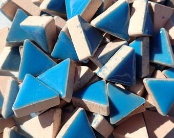 Mediterranean Blue Mini Triangles Mosaic Tiles - 50g Ceramic - 15mm in Thalo Blue