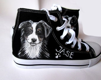 Custom handpainted shoes with YOUR DOG, custom dog sneakers, doggy shoes, dog shoes, personalized shoes, dog portrait, dog painting, pet