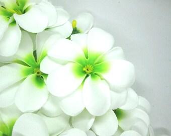 12 White Green Plumeria Frangipani Heads - Artificial Silk Flower - 3 inches - Wholesale Lot - for Wedding Work, Make Hair clips, headband