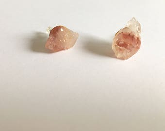 Red Stud Earrings, Healing Crystals Himalayan Quartz - For Her