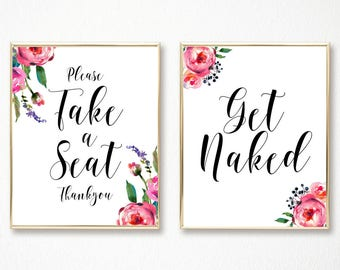 Bathroom wall art, bathroom decor, get naked, bathroom prints, washroom, funny bathroom art, bathroom sign, set of 2, bathroom art, wall art