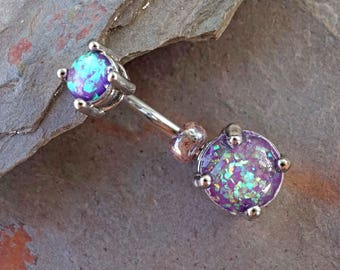 Purple Opal Prong Set Silver Belly Button Ring