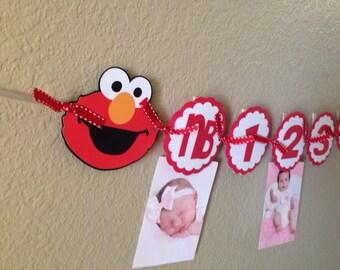 Elmo birthday banner, Elmo banner, Photo banner