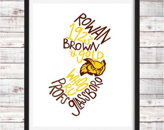 Rowan University | Printable Art | Digital Download | Dorm Room Decor | Graduation Gift | Wall Art