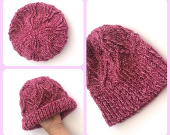 Raspberry Ripple chunky beanie hat , machine washable , acrylic / wool mix, , outdoors gift , gift for her , women's beanie ,  knitted hat