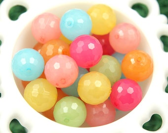 20mm Lovely Faceted Bright Color Jelly Gumball Bubblegum Resin Beads - 12 pc set