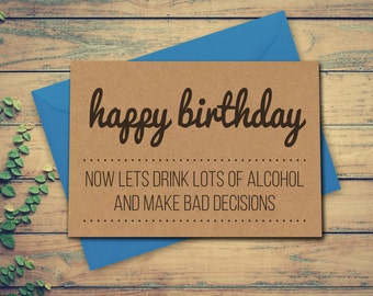 Best Friend Birthday Card Funny Alcohol Birthday Card Card for Best Friend Card for Mates Friends Birthday Funny Card
