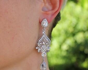 Chandelier Bridal Earrings, Crystal Wedding Earrings, Bridal Earrings, Pearl drop option,  Bridal Jewelry, Bridesmaid Earrings, LUCY 3 CZ